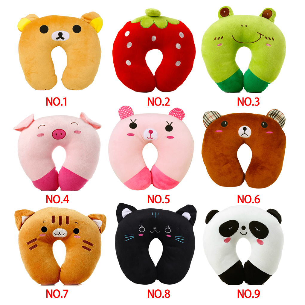 Hot-Sale-9-styles-U-shaped-Plush-Pillow-Travel-Pillow-Cartoon-Animal-Car-Headrest-Doll